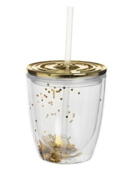 Gold Glitter Tumbler with straw
