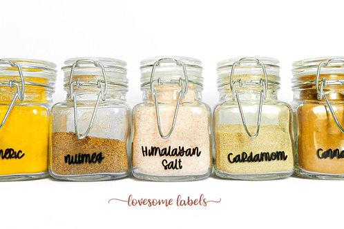 x5 88 ml Glass Spice Jars (FREE Labels)