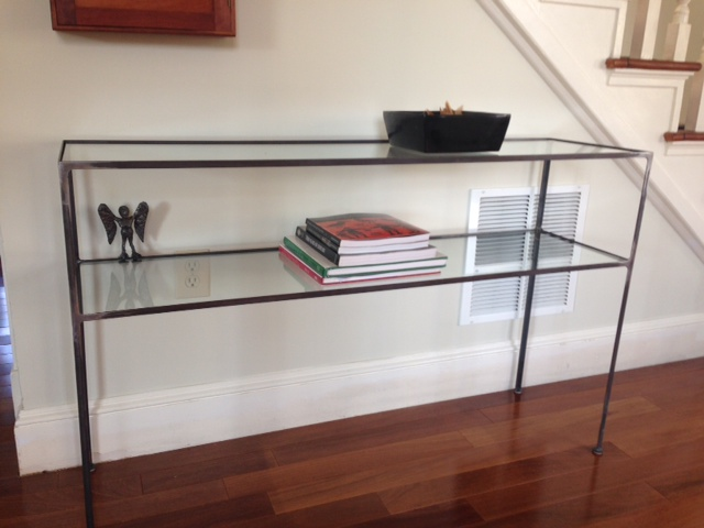 Glass Shelf Console table with Harpy