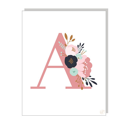 Floral & Fauna Monogrammed Print