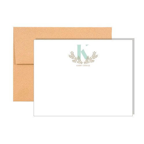 Laurel Wreath Monogrammed Note Cards