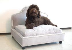 Luxury dog bed in silver velvet