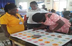 Participants preparing flashcards in Gha