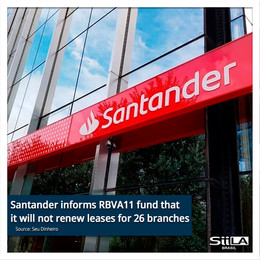 Santander informs RBVA11 fund that it will not renew leases for 26 branches