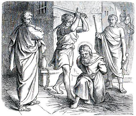 Old engraving. Execution of St. Paul. Th