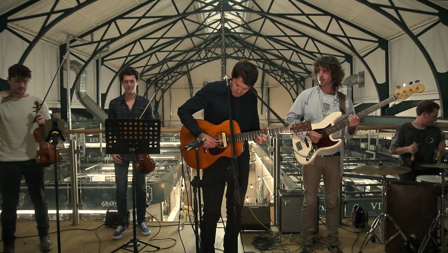 Pavey Ark, performing an arrangement of David Bowie's Moonage Daydream in Trinity Market, Hull.