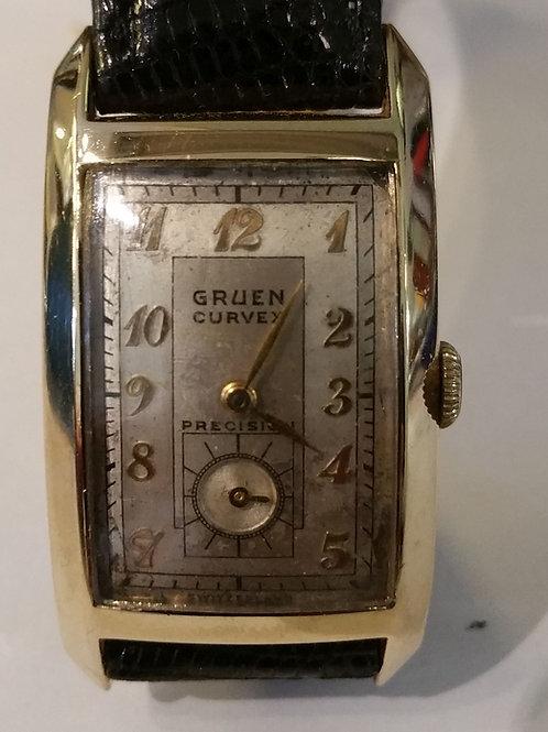 "#01353 GRUEN ""Curvex"" Precision Cal.440 14KY Gold Watch"
