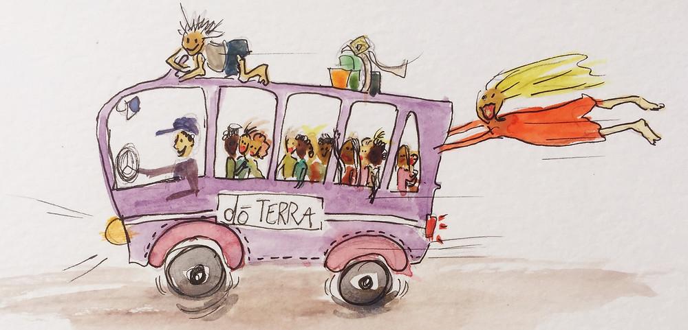 purple dōTERRA bus illustration