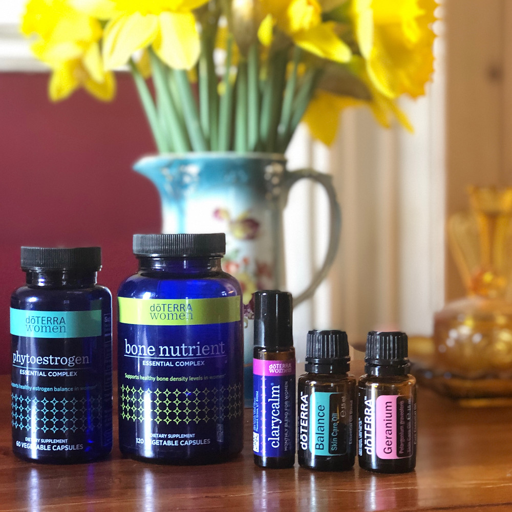 dōTERRA Women Line , Clary Calm, Balance and Geranium with daffodils