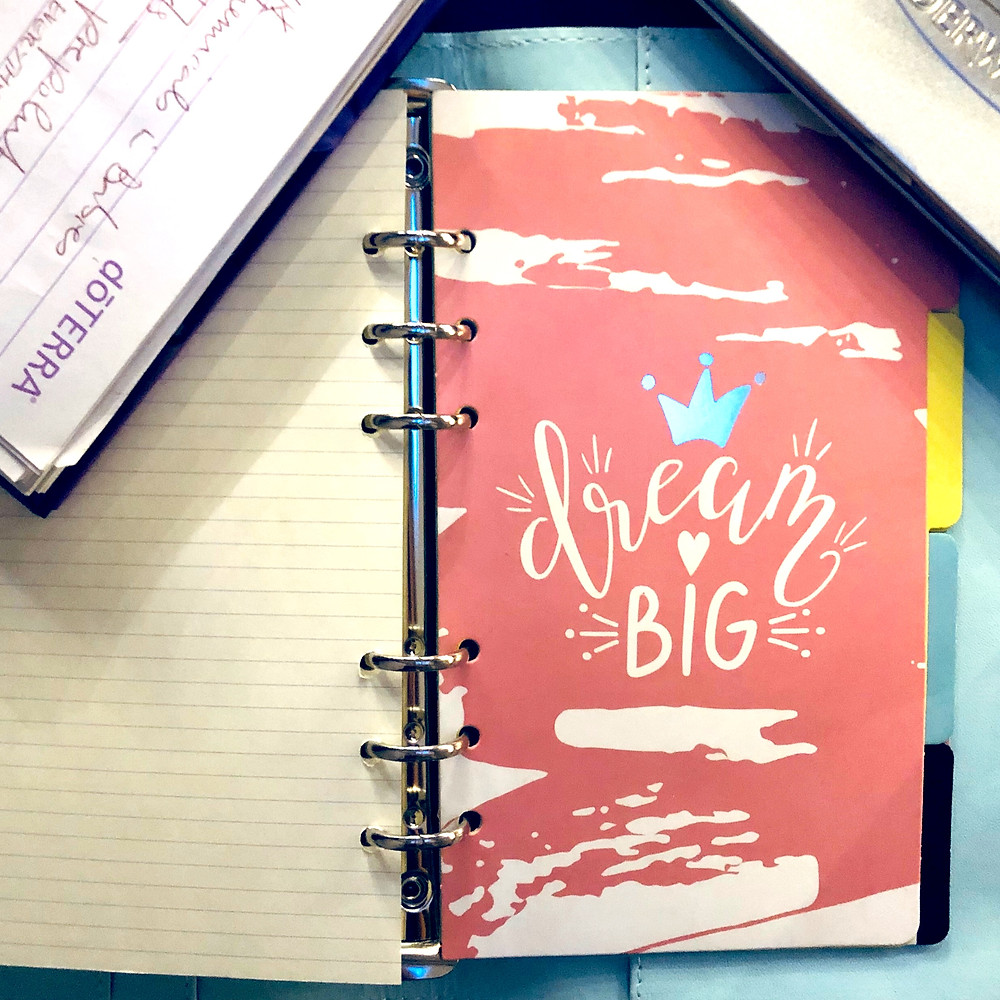 "Picture of diary with the words""Dream Big"""