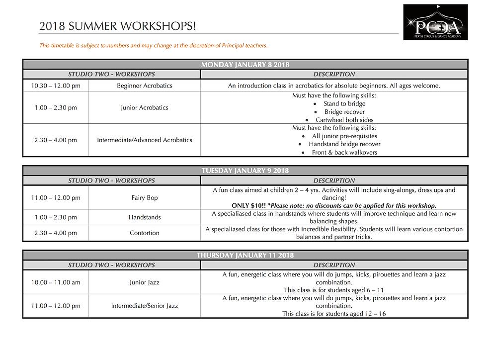 2018 PCDA Summer Workshops
