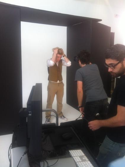On set with Evan Peters