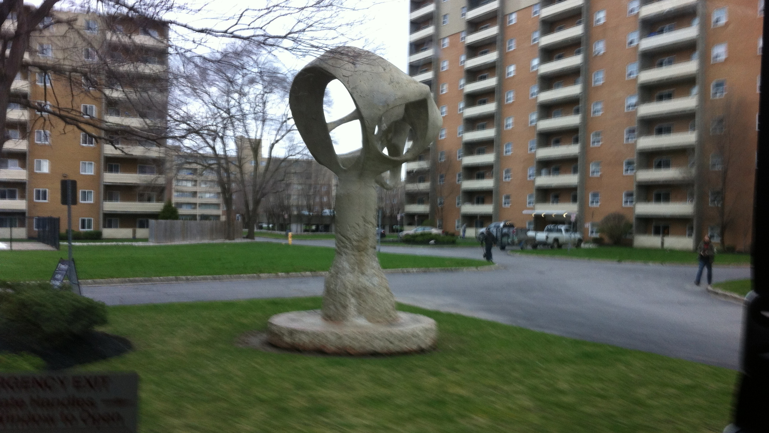 A strange sculpture I saw on my way to the show.
