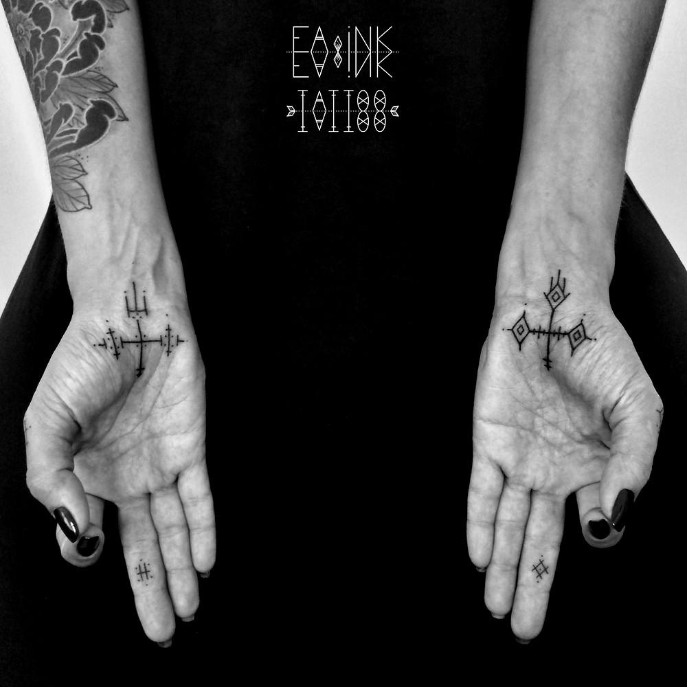 Wrist tattoos by Eaink tattoo - handpoking