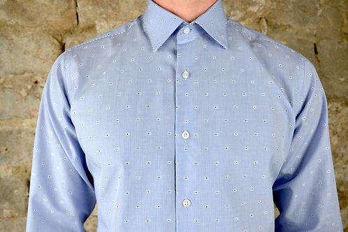 Chemise bleu ciel motif