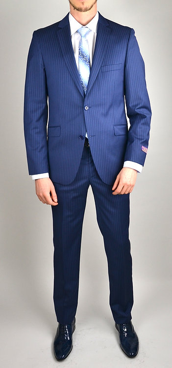 Costume slim bleu rayure