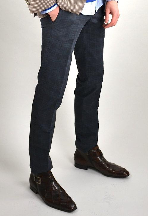 Pantalon coton gris carreaux