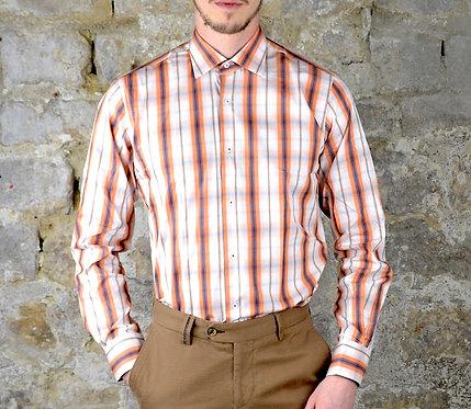 Chemise slim orange carreaux
