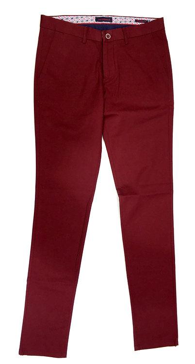 Pantalon coton bordeaux