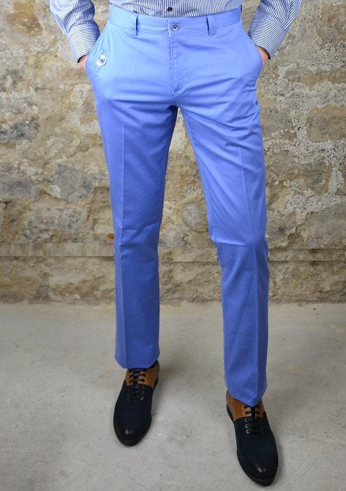 Pantalon coton bleu roi