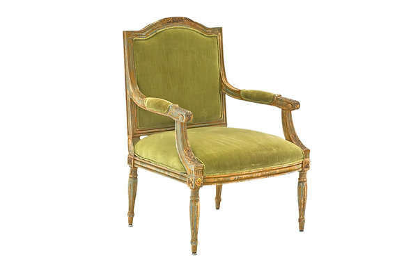 Poltrona Luis XVI D1 Veludo Verde