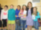 Author Jo Knowles poses with students after presentations