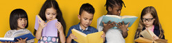 Diverse Group Of Kids Study Read Book_edited