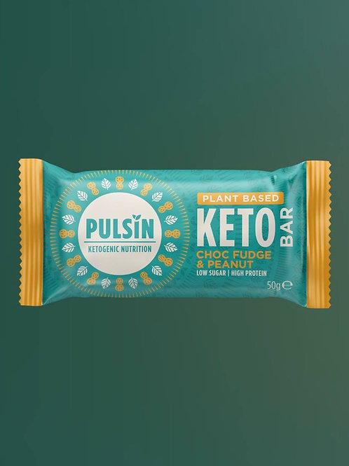 Pulsin Keto Bar- Choc fudge  & Peanut  50g