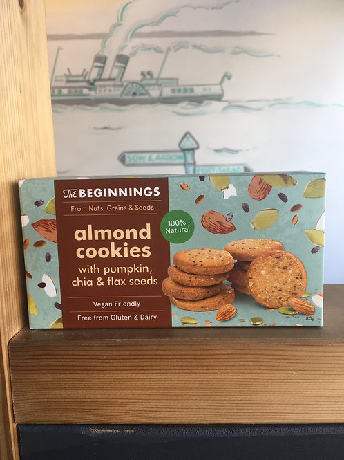 Almond Cookies with pumpkin, flax and chia seed