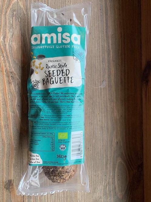 Organic, rustic seeded gluten-free baguette