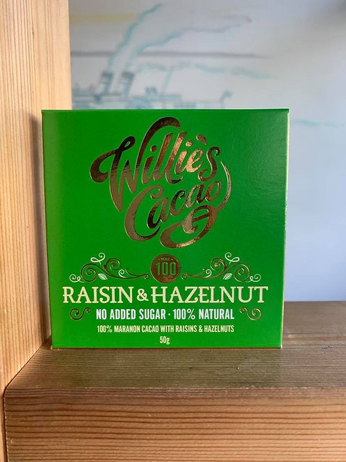 100% Dark Chocolate Raisin & Hazelnut- Willie's Cacao