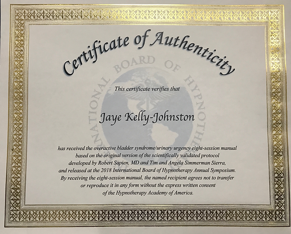 oab certification for jaye kelly-johnston