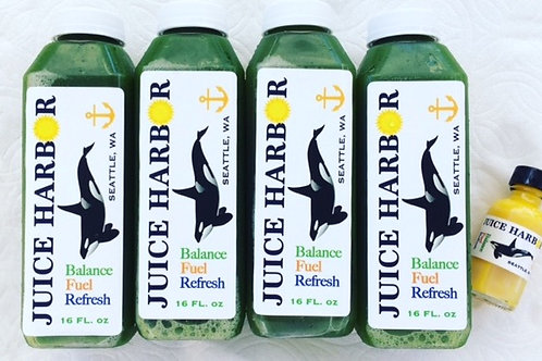 Deep Green 4 Pack- 4 Low Glycemic Greens with a free turmeric shot!