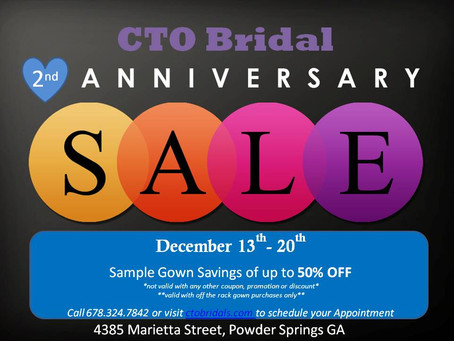 2nd Anniversary Sample Gown Sale