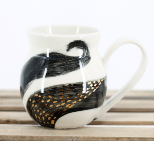 Porcelain Mug with Gold Accents