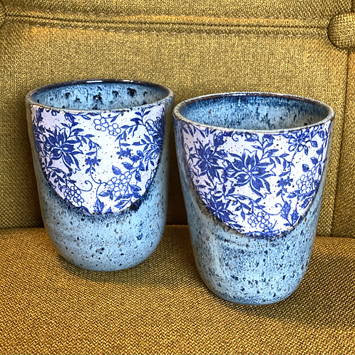 Pair of Got the Blues Wine Cups