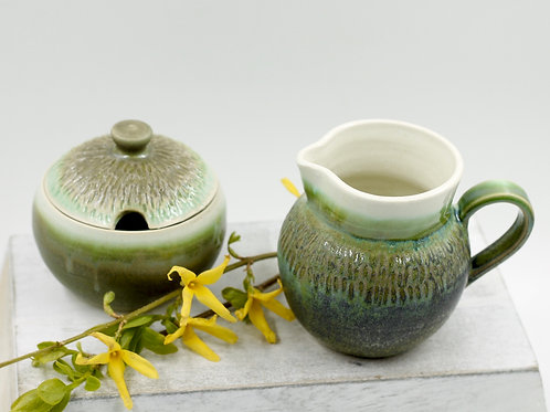 Mossy Green Sugar & Creamer Set