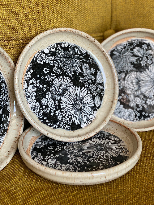 Eggshell & Floral Small Plate