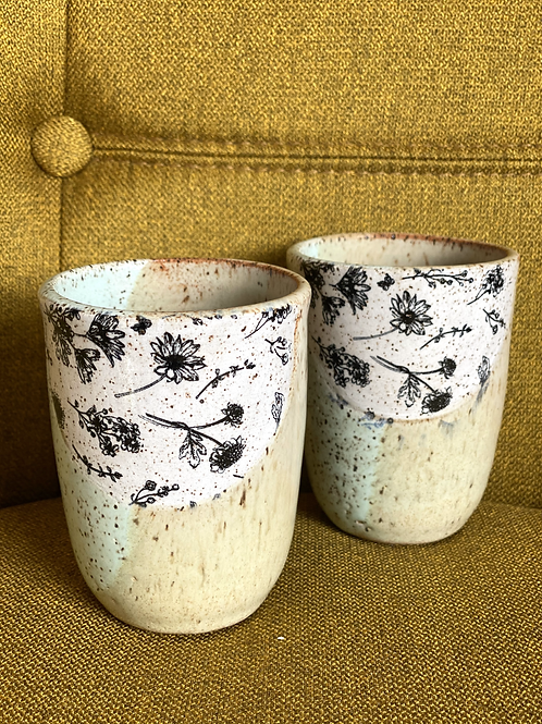 Pair of Wildflower Meadow Wine Cups