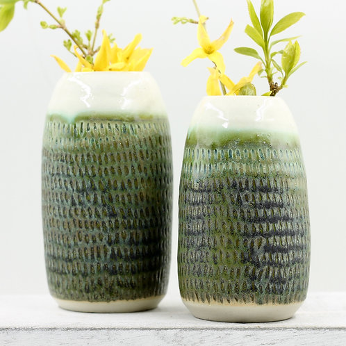 Set of (2) Mossy Green Vases