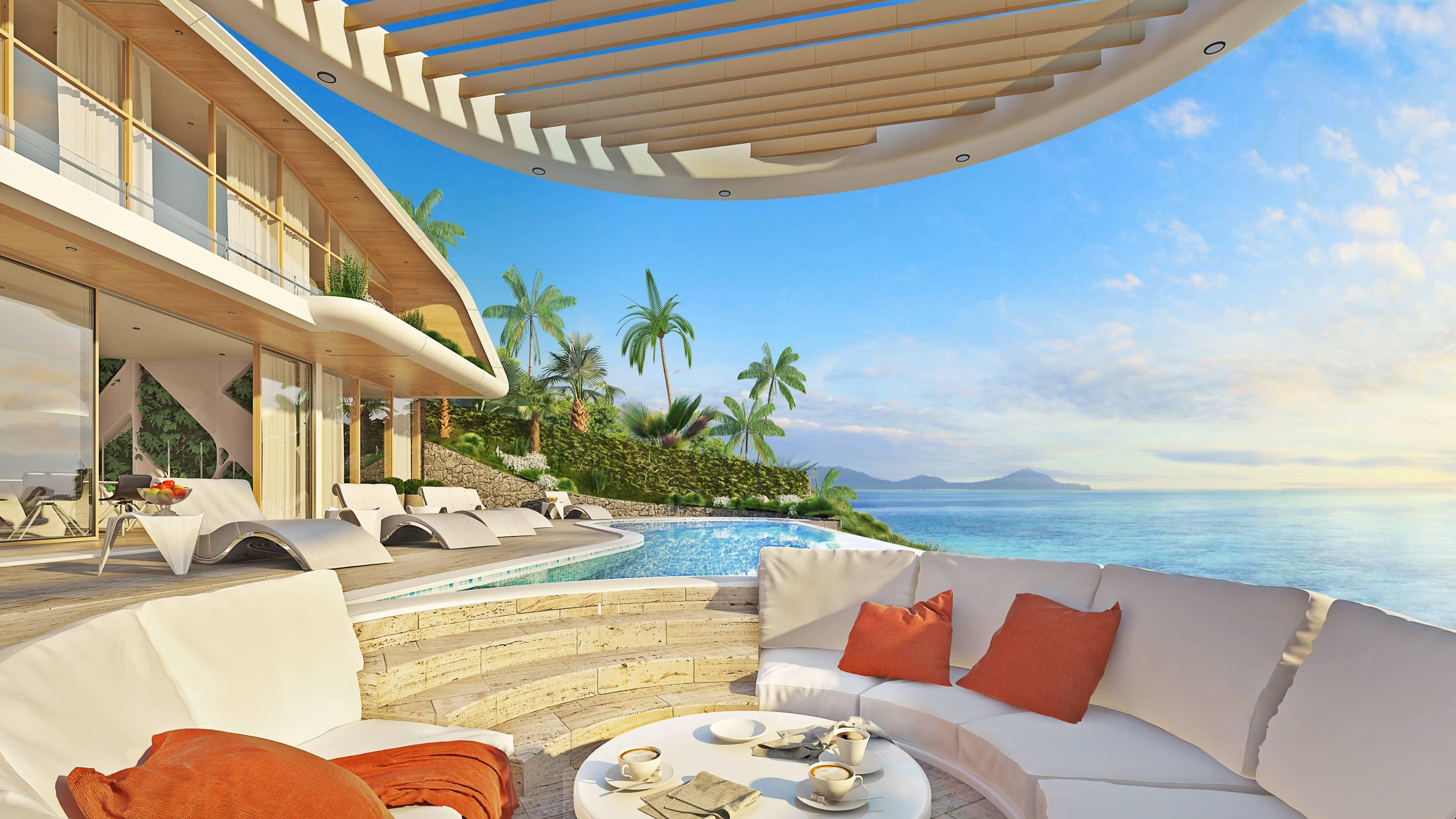 Sea view deck for luxury Villa D2