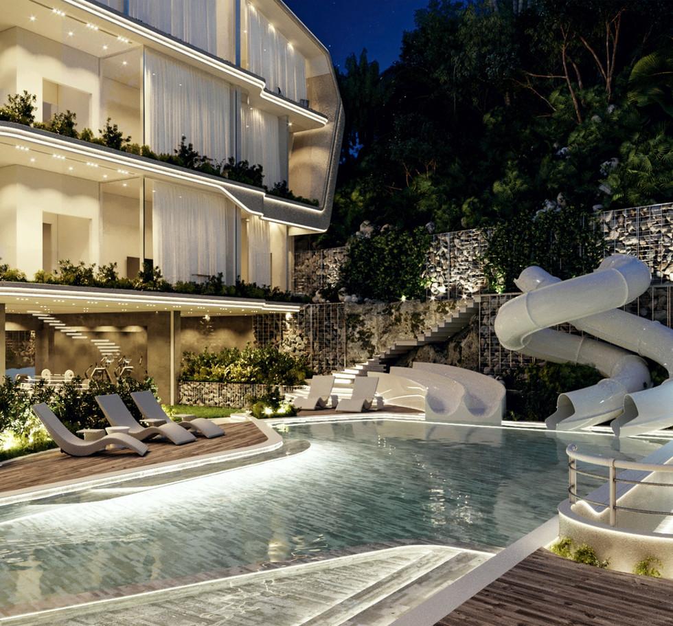 ANAMAYA Apartment building HS. Pool. Night.jpg