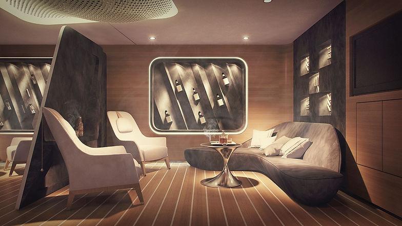 Smoking cigar, whiskey lounge