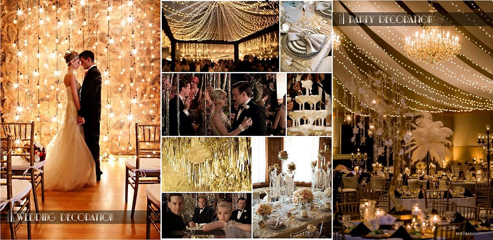 Party Inspiration board. getsby style. Art deco wedding decoration