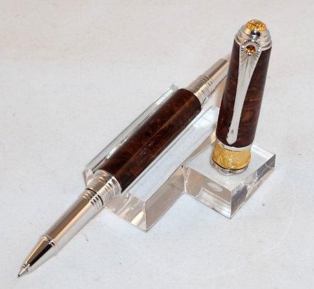 Art Deco, Honduran Rosewood Burl, Antique Pewter and Brass Hardware