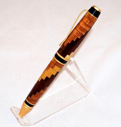 Virginian, Multi-Wood Spiral, Brushed Gold Hardware