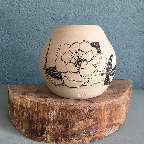 Vase boule motif fleur