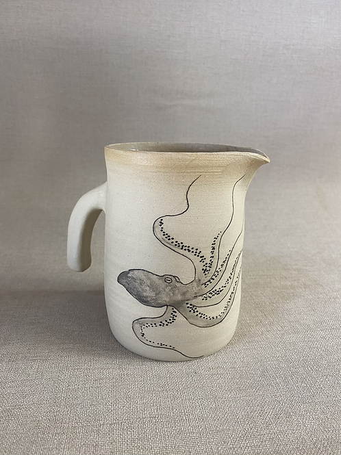 Pichet en grès motif pieuvre et fleurs