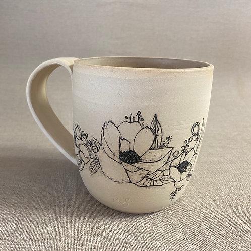 Grand Mug en grès motif fleurs