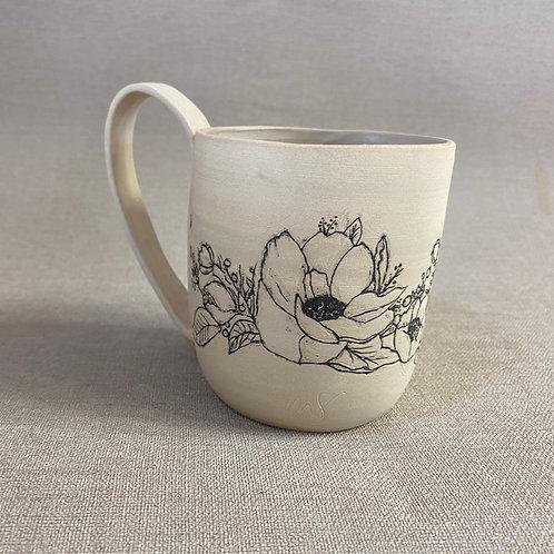 Mug en grès motif fleurs